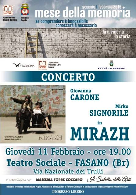 """""""Mese della Memoria"""", giovedì 11 febbraio, al Teatro Sociale, si terrà un concerto dal titolo """"Mirazh"""