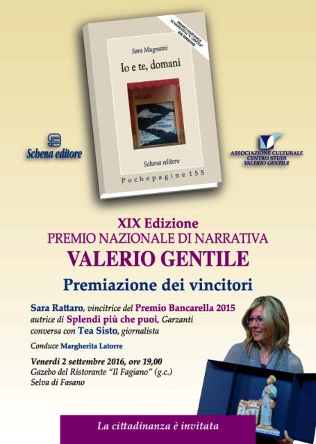 """PREMIO NAZIONALE DI NARRATIVA """"Valerio Gentile"""""""