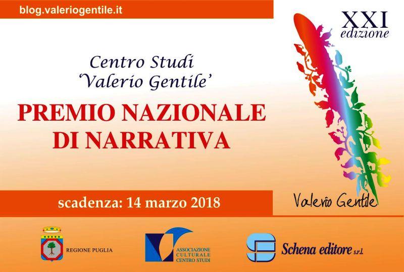 """Al via la XXI edizione del PREMIO NAZIONALE DI NARRATIVA INEDITA """"Valerio Gentile"""""""
