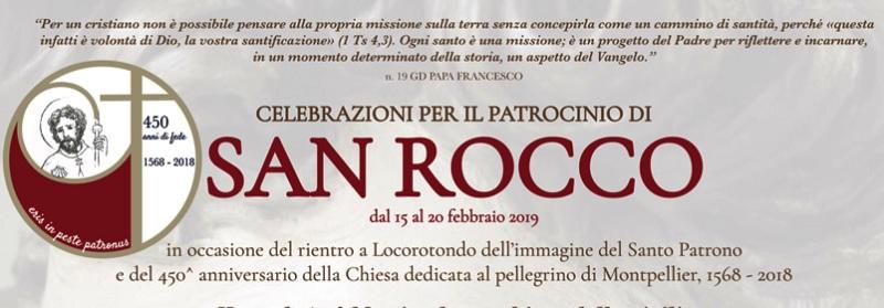 A Locorotondo celebrazioni  per il patrocinio di San Rocco dal 15 al 20 febbraio 2019