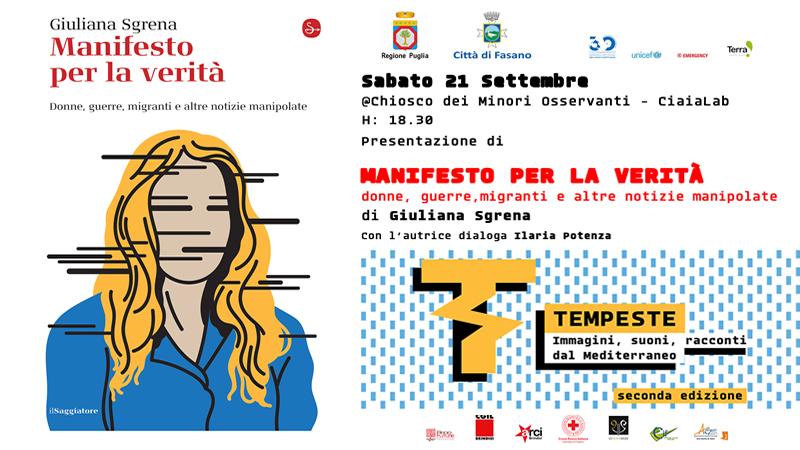 """Giuliana Sgrena apre il Festival """"Tempeste"""" 2019"""